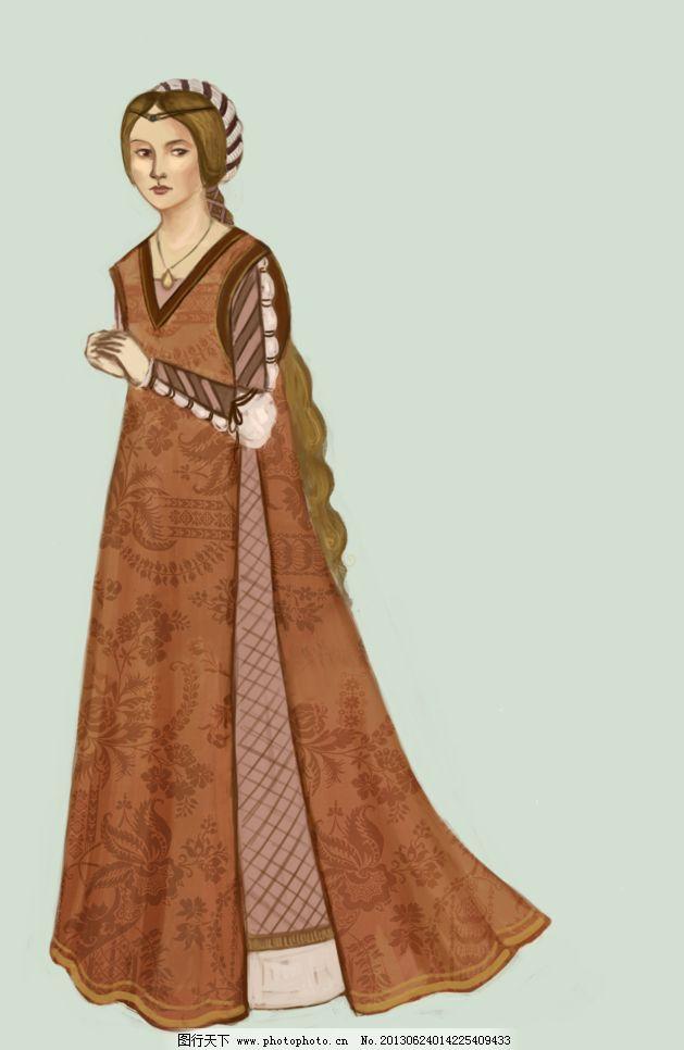 欧洲中世纪服饰插图图片图片