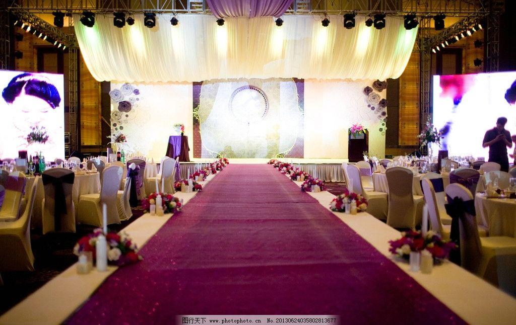 舞臺 舞臺造型 創意 設計 空間造型 紫色 浪漫 婚慶 婚禮 黃色紗幔 梯