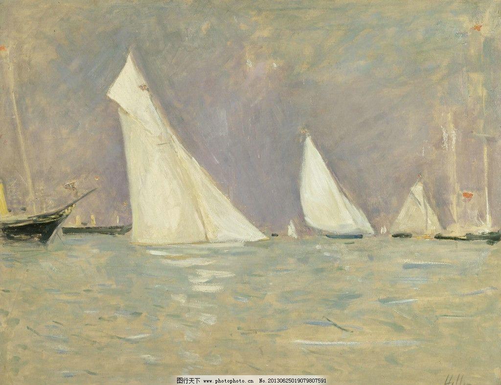 帆船油画 小船 船只 大海 打渔 风光画 风景画 山水画 欧洲油画