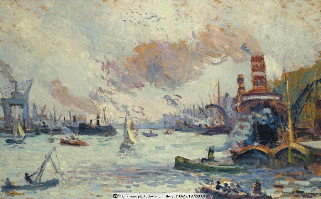 港口油画 小船 帆船 游轮 渡轮 风光画 风景画 山水画 欧洲油画