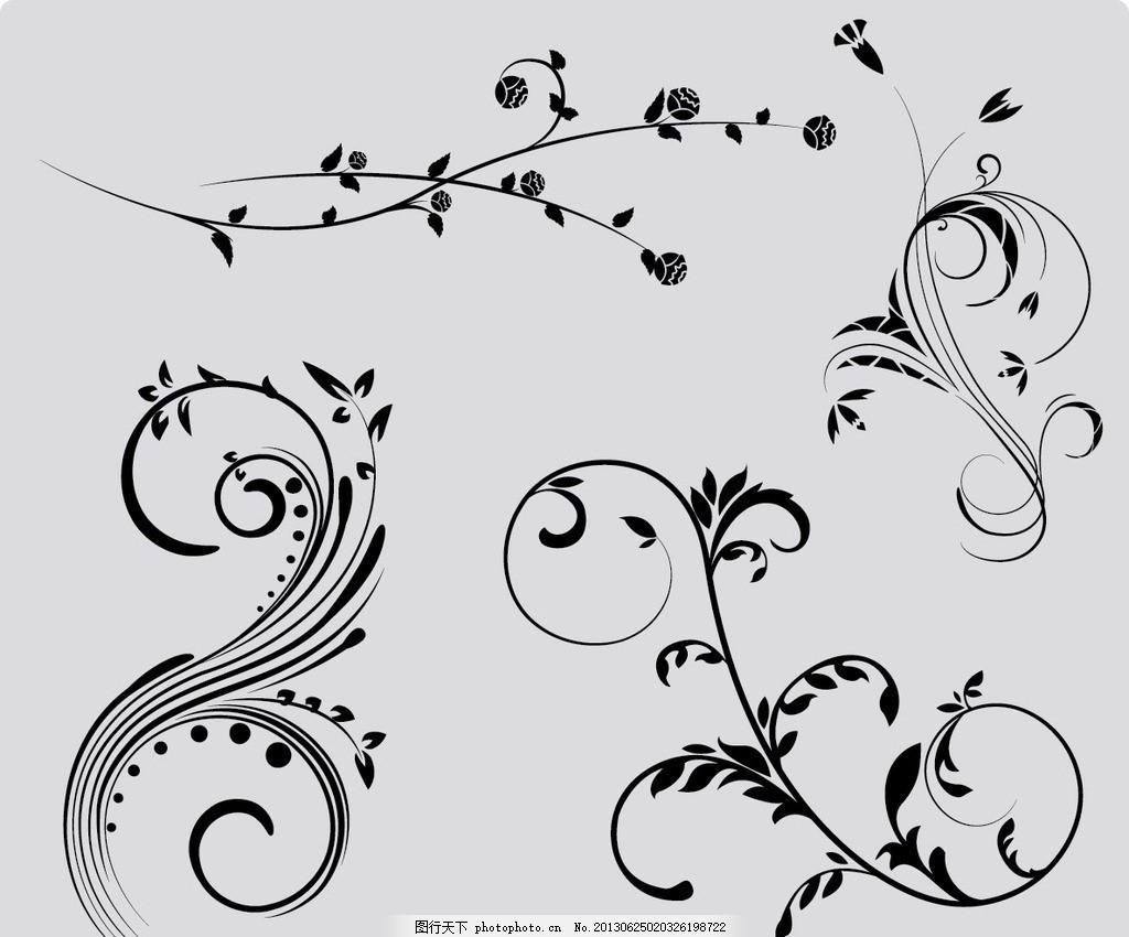 树枝花纹 简易 线条 植物 花纹 藤蔓 枝叶 花藤 潮流花纹 花纹花边