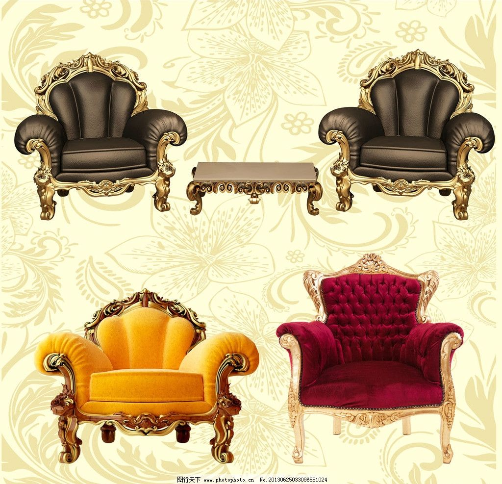 复古欧式沙发底纹 金色雕花