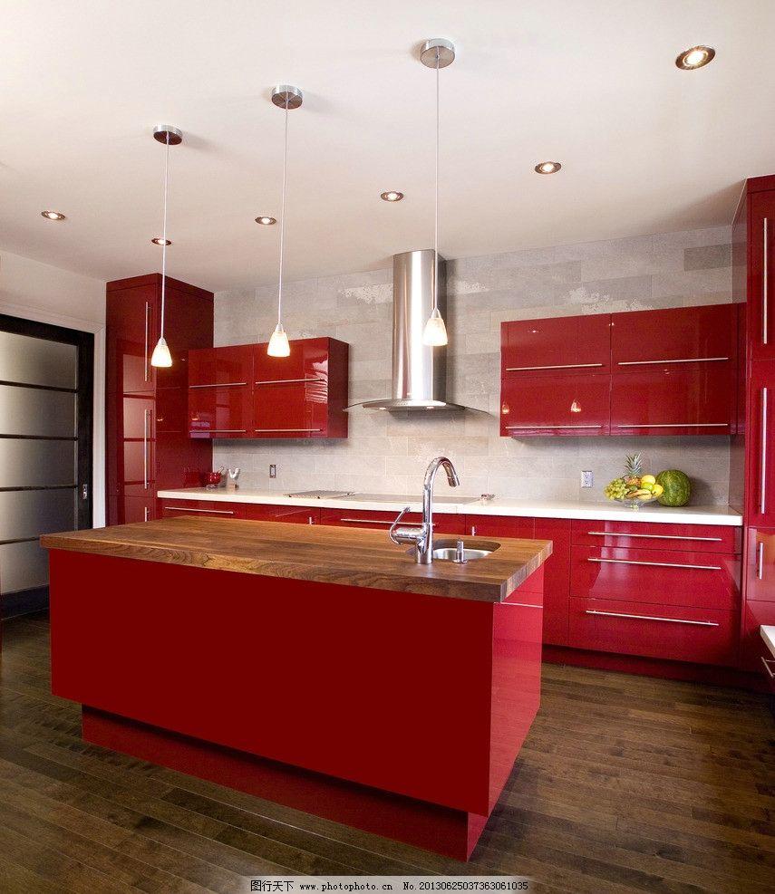 厨房 欧式风格 红色橱柜 整体橱柜 实木橱柜 厨房装修 厨房实景