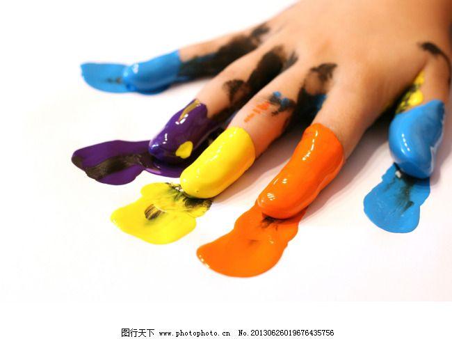 手掌 手指 颜料 彩色颜料手 颜料 彩色 手掌 手指 手 水粉颜料 水彩