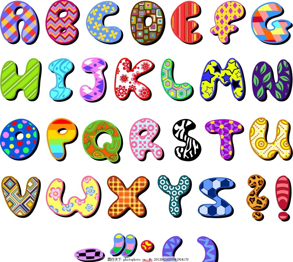 卡通字母 可爱字母 手绘字母 英文 英文字体 英文艺术字 拼音