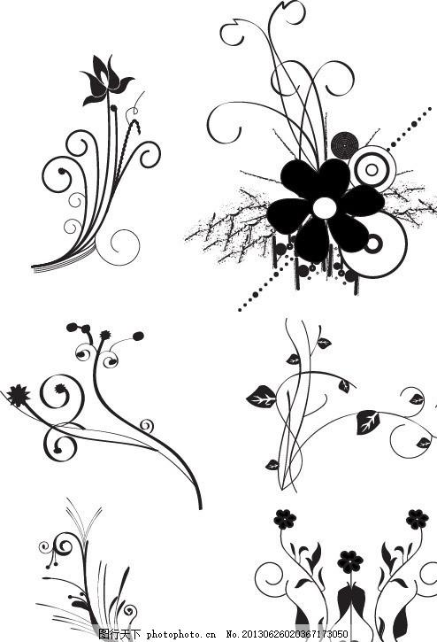 植物花纹 叶子 树叶 藤蔓 枝叶 底纹 花边 花朵 手绘 线条