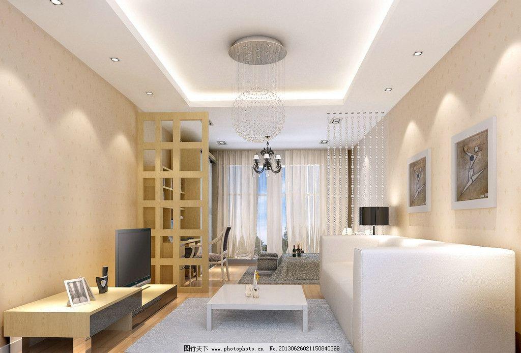 客厅卧室效果图 吊顶 室内设计 黄橡木色 墙纸