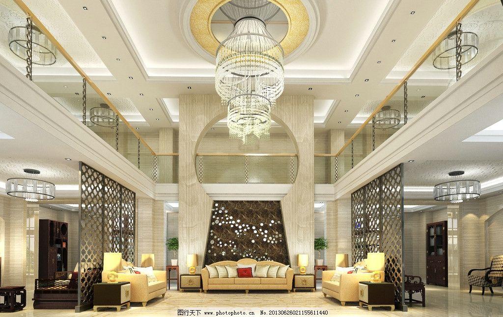 别墅大厅 家装 室内 别墅        挑空别墅 3d作品 3d设计 设计 72dpi
