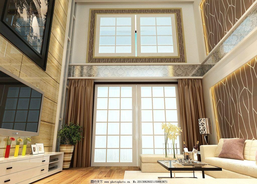 客厅 欧式 效果图 电视背景 复式楼 挑空