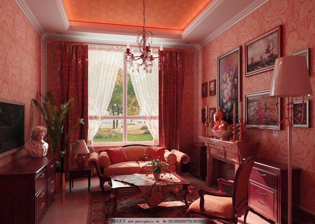 室内客厅效果图 室内设计 沙发 窗户 吊灯 挂画 环境设计 设计