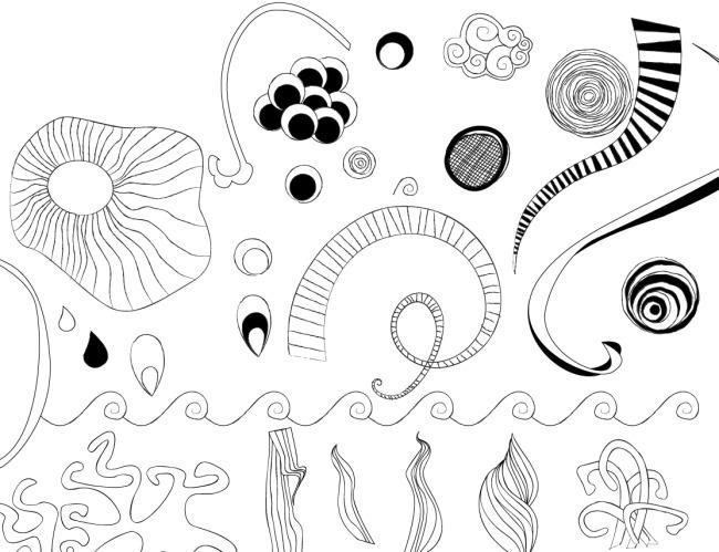 抽象线条花纹免费下载 单色花纹 分割线 黑白花纹 精致花纹 装饰花纹