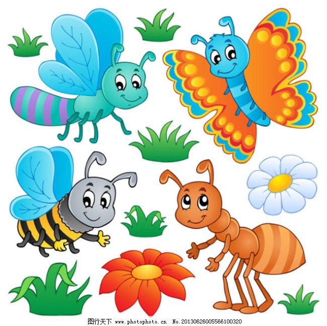 草丛 卡通蜜蜂 卡通蚂蚁 儿童元素 卡通 手绘卡通插画 手绘插画 矢量