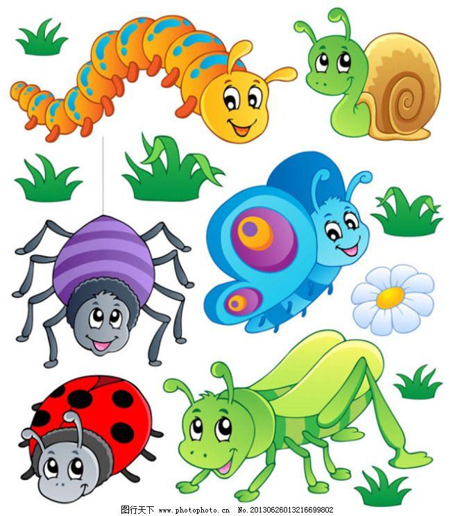 毛毛虫 蜜蜂 手绘插画 卡通昆虫集 毛毛虫 蝴蝶 蜜蜂 蚂蚁 蜘蛛网
