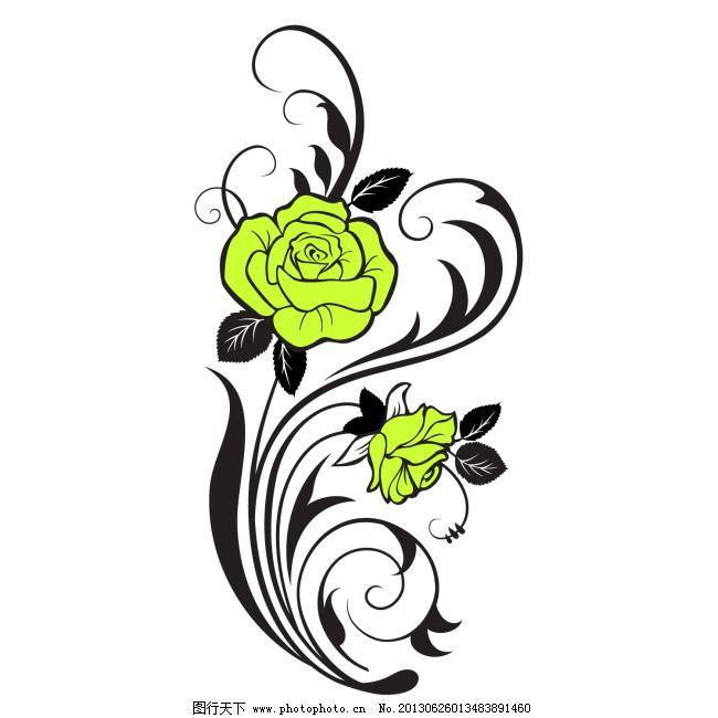 手绘玫瑰花 爱情 花朵 婚礼 婚庆 浪漫 玫瑰花线稿 情人节 贴纸图案