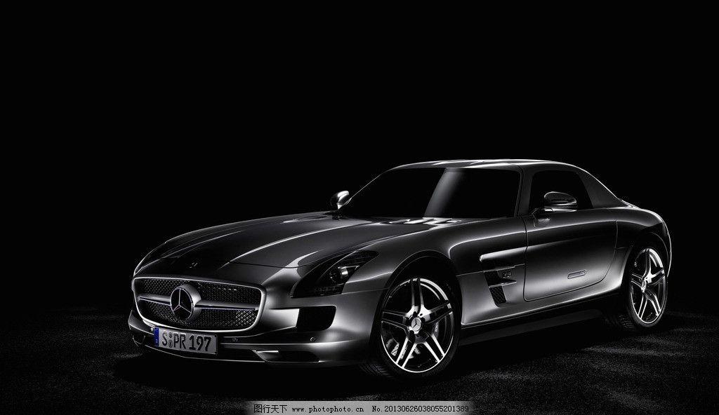 汽车图片,德国 奔驰 银色跑车 特写 黑色背景 车展-图