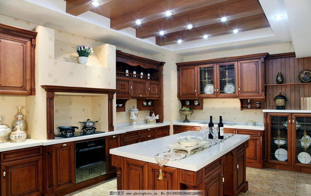 美式厨房 家具 实木 厨具 建筑 设计 室内 餐具 豪华 房间 装修图片