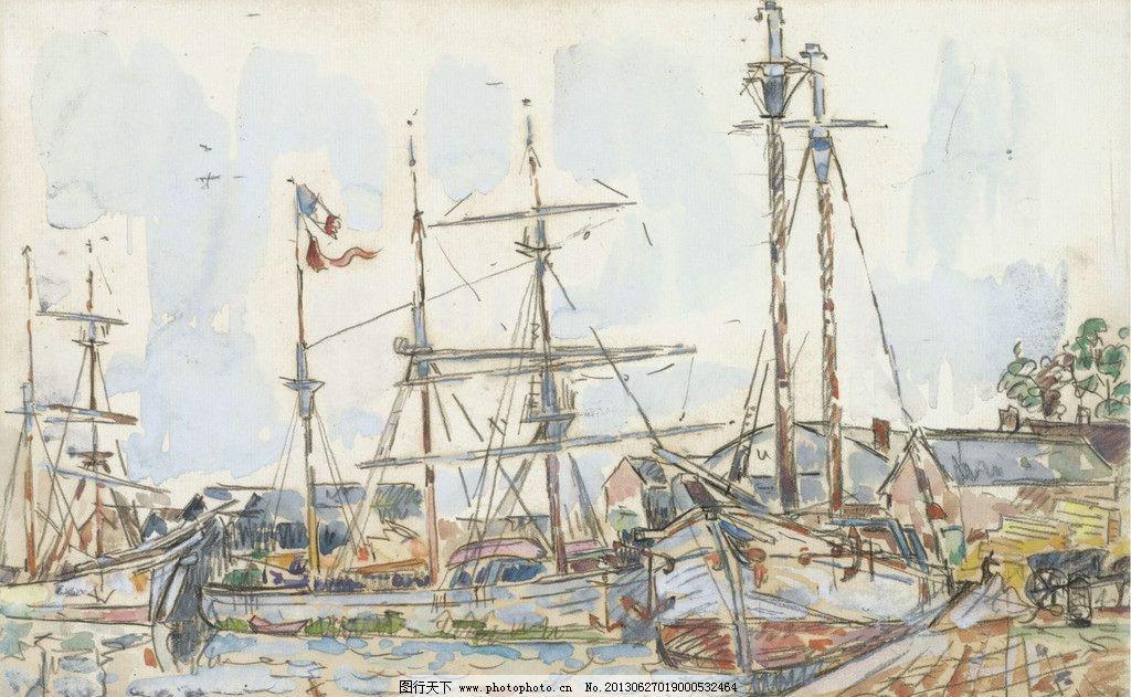 欧式手绘古帆船