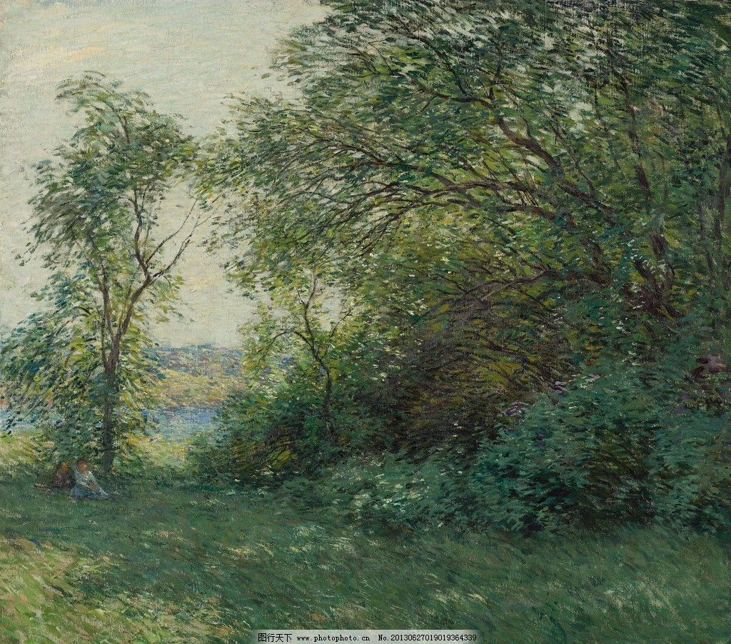 树林油画 树林 绿地 草地 风光画 风景画 山水画 油画 欧洲油画 珍藏