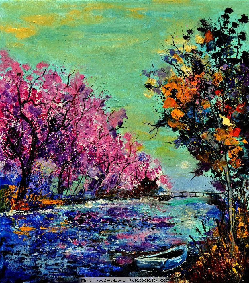 油画 迷人的河岸 油画风景 绘画 艺术 油画艺术 河流 河水 小船