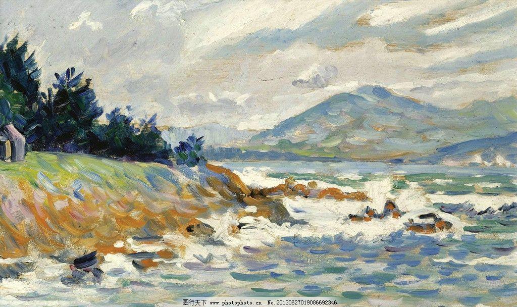 海洋油画 大海 海浪 海岛 风光画 风景画 山水画 欧洲油画 珍藏品