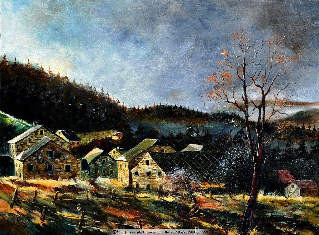 油画 秋天的村庄 油画风景