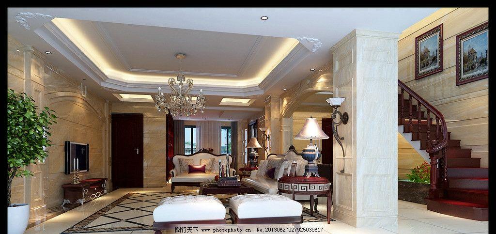 楼梯 电视背景墙 沙发 吊灯 天花 盆景 室内设计 环境设计 设计