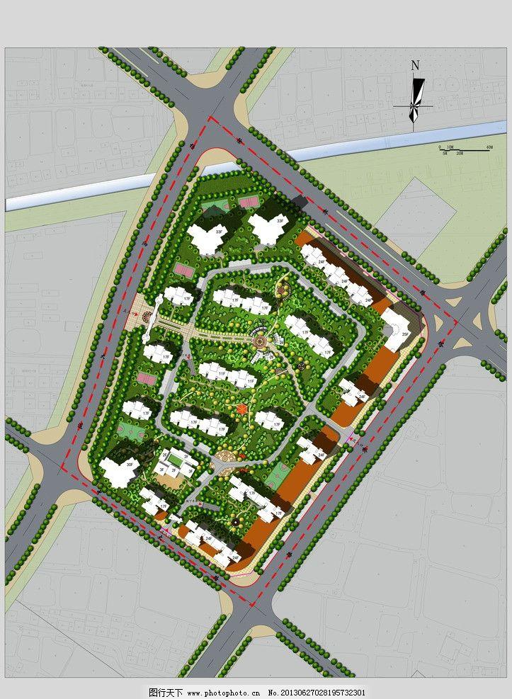 居住区规划 居住区 总平面图 沙北新区 高层小区设计 b地块 景观设计图片