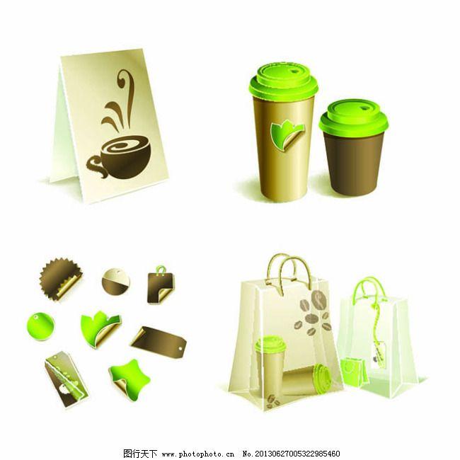 整套天然绿色奶茶vi设计模板免费下载 包装 杯子 便利贴 购物袋 环保