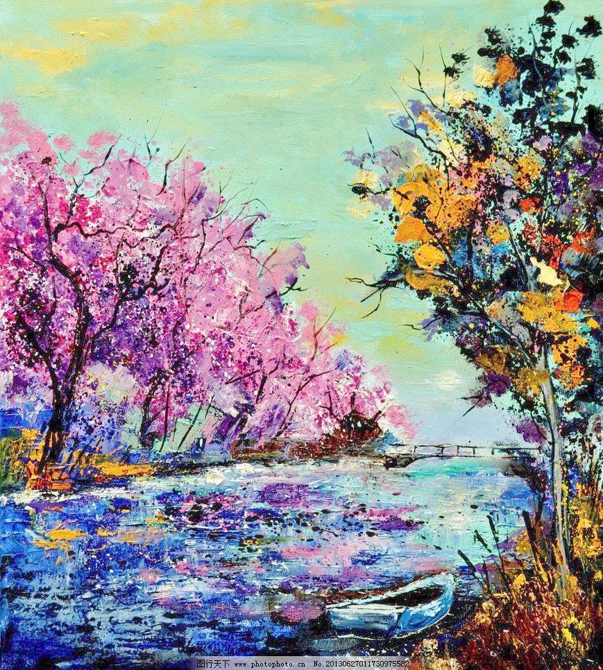 油画 迷人的河岸 风景 风景画 挂画 河流 河水 绘画 绘画书法