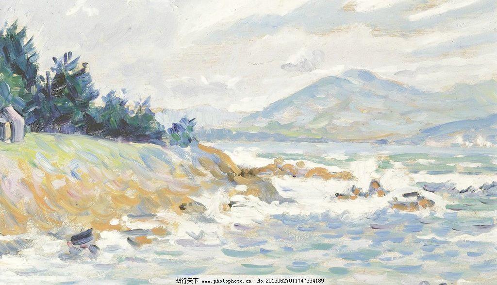 海洋油画 壁画 大海 风光 风景 风景画 海岛 海浪 海洋油画设计素材