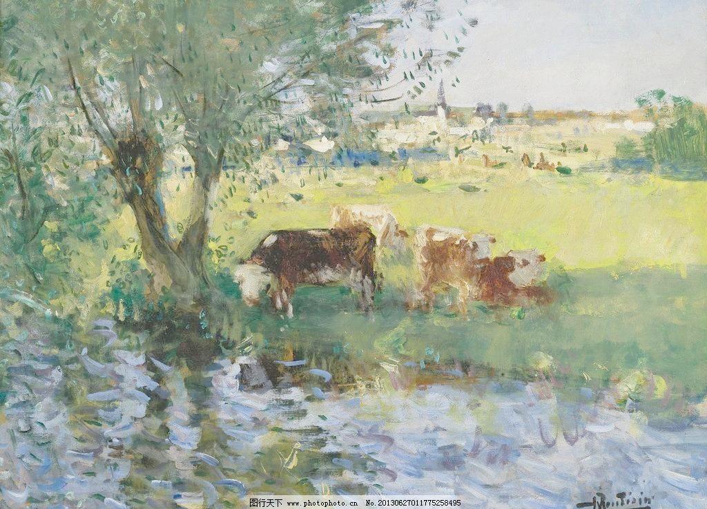 沼泽油画 壁画 大树 风光 风景 风景画 黄牛 绘画书法 精品