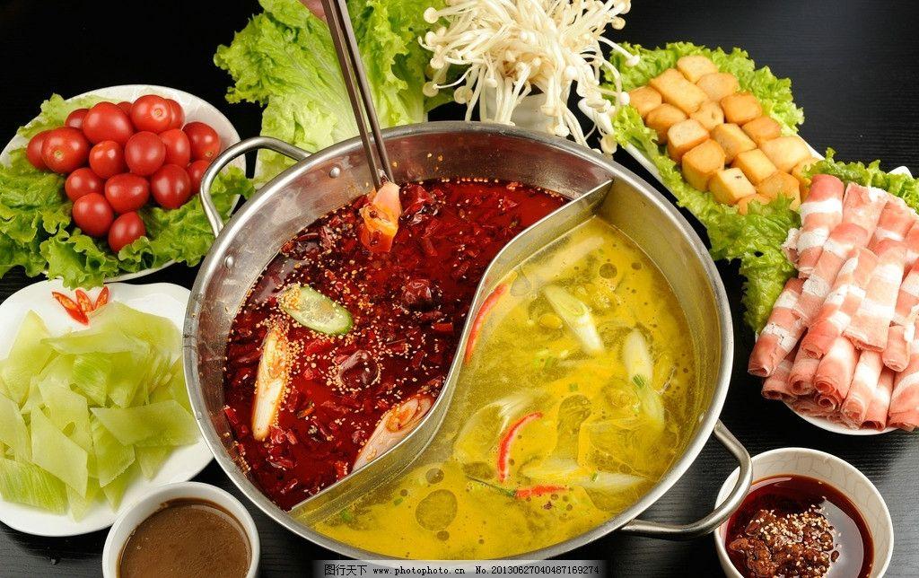 鸳鸯火锅 豆腐 酱料 青菜 火锅 配菜 美食 餐饮 食物原料 餐饮美食 摄