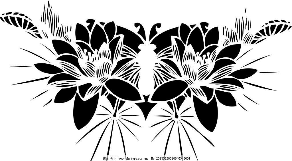 剪纸蝴蝶 蝴蝶 剪纸 黑白背景 变形 莲花 素材 生物 传统文化 文化