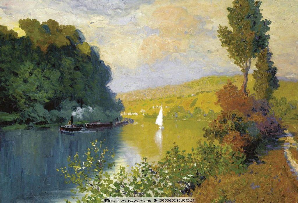 水岸风景油画图片