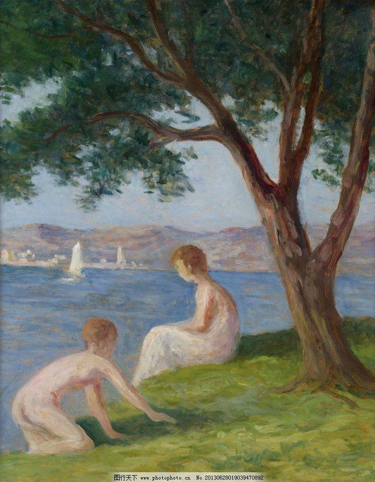海边少女油画图片