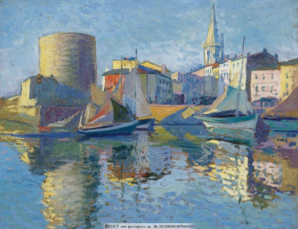 港口码头油画 港口 码头 帆船 小船 船只 渔船 风光画 风景画 山水画