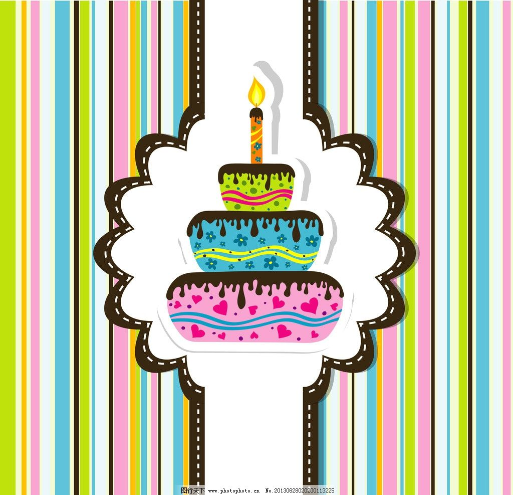 卡通背景 生日蛋糕 蜡烛 可爱卡通背景 生日快乐插画 背景画 时尚背景