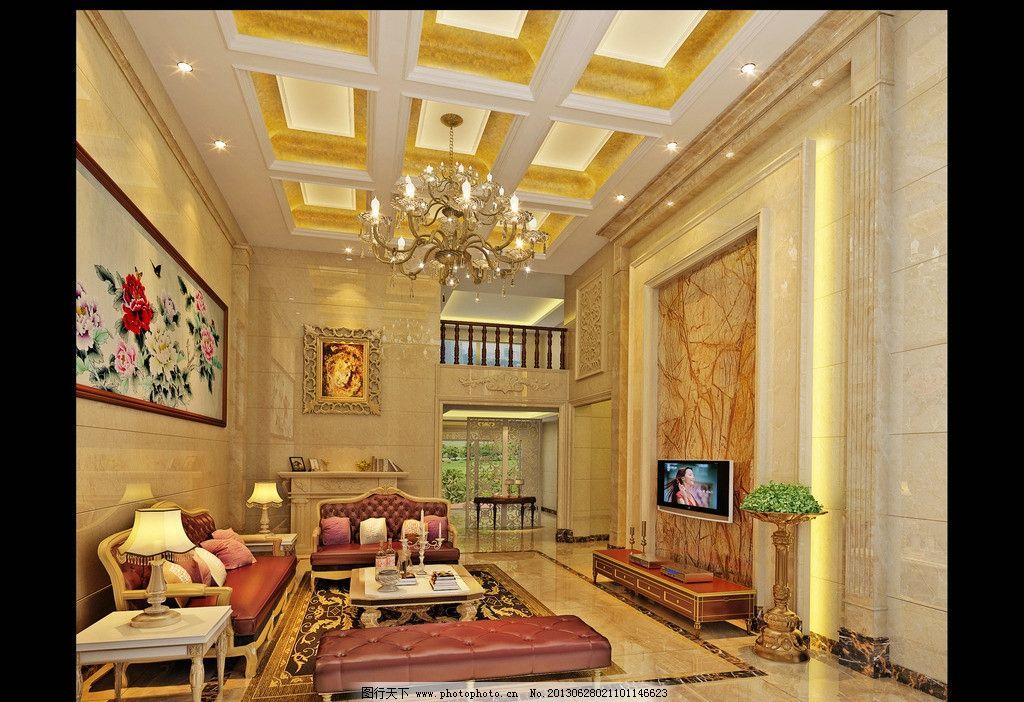 欧式客厅 欧式      楼中楼 电视背景 3d设计 设计 72dpi jpg