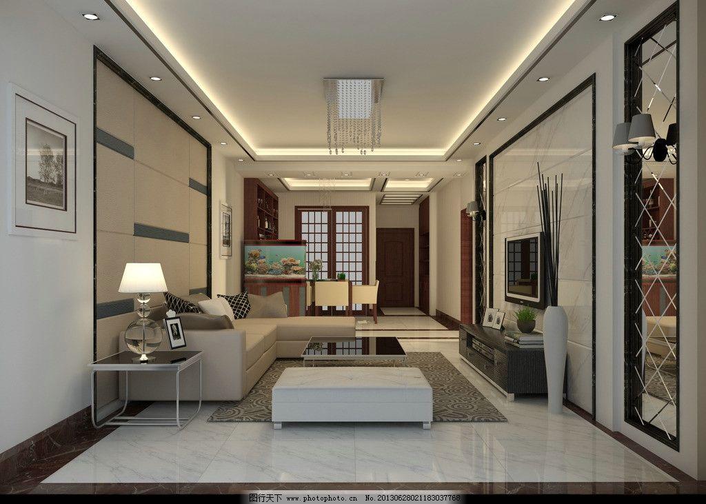 现代客厅 硬包 背景墙 爵士白