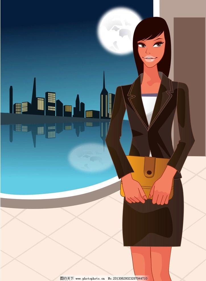 卡通商务人物 商务人物 矢量商务人物 商务背景 职业女性 商务女性 女