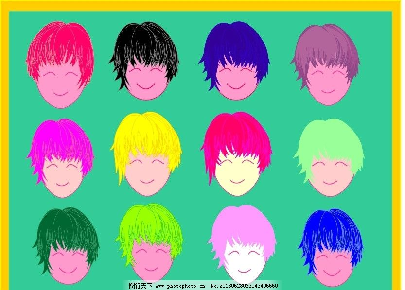 微笑 漫画 卡通头像 头型 笑脸 可爱头型 头发 其他人物 矢量人物