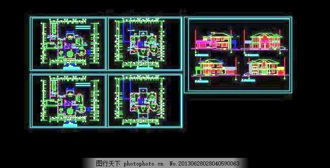 农家二层实用型别墅设计图19x21 房屋设计图 图纸 黑色