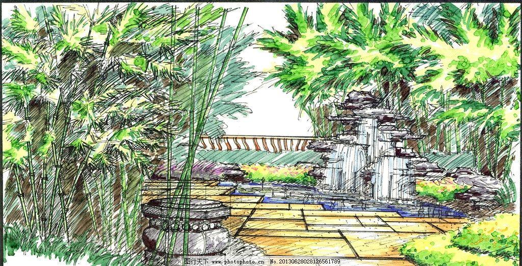 手绘景观 庭院 小瀑布 树 美人靠 铺装地面 石墩