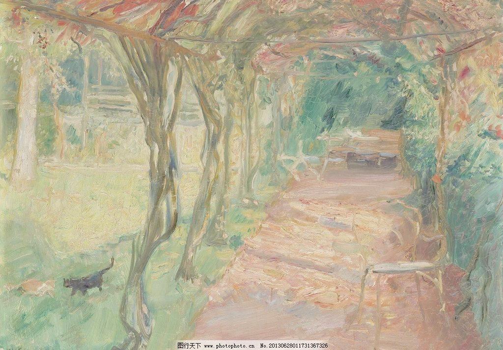 植物园油画图片