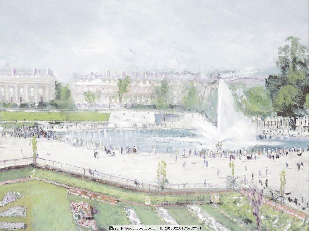 喷泉庄园油画图片