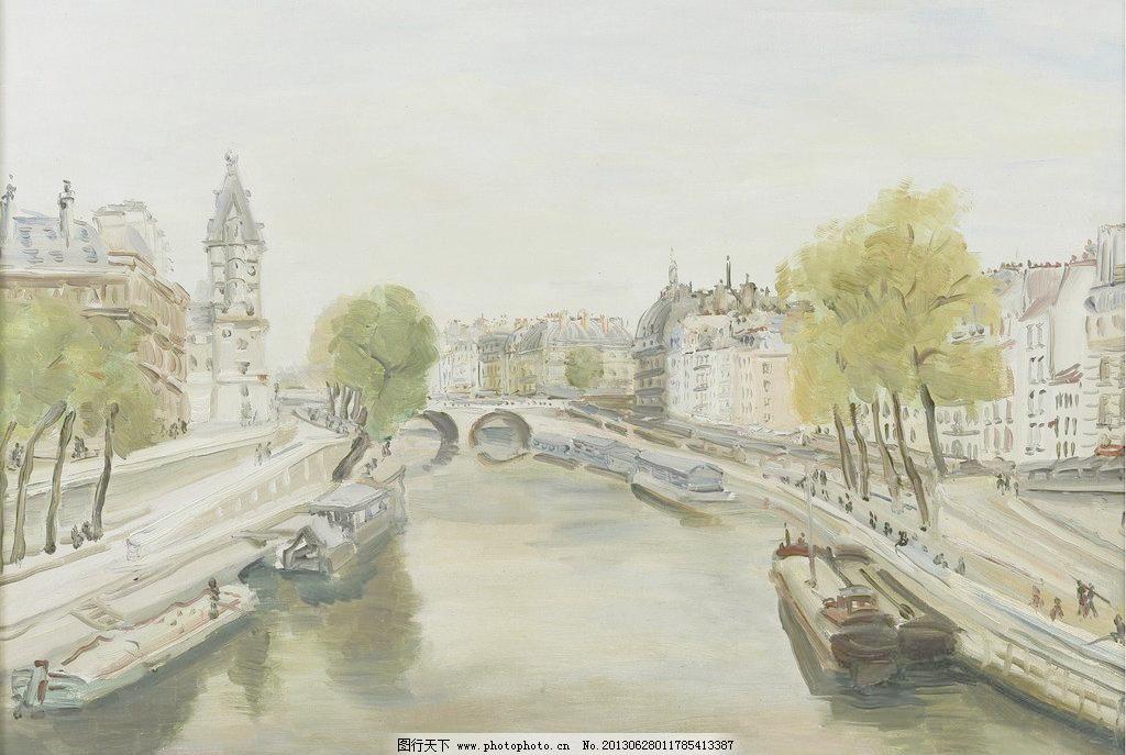 城市风光油画图片