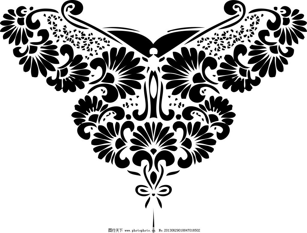 蝴蝶剪纸图案 菊花 黑白背景 变形 燕尾蝶 传统文化 文化艺术