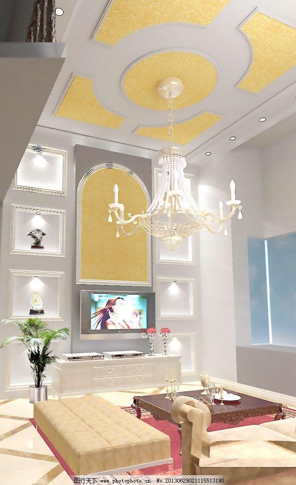 欧式客厅 背景墙 茶几 艺术品 沙发 吊顶 吊灯 电视柜 壁挂电视