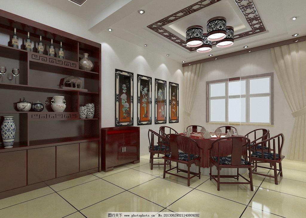 酒店单间效果图 室内 酒店 包间        现代 中式 酒柜 酒店装修设计