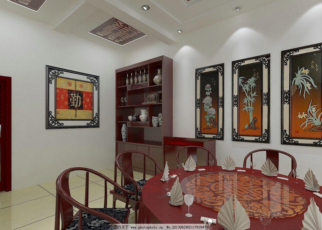 店单间效果图 室内 酒店 包间        现代 中式 酒柜 餐桌 酒店装修